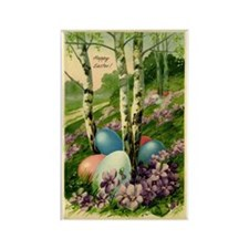 Happy Easter!  with trees and Eas Rectangle Magnet
