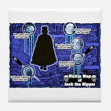 Jack the Ripper Victim Map Blue Tile Coaster