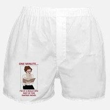 Brunette Reading Epic Fantasy Novel Boxer Shorts