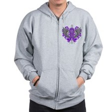 Fibromyalgia Awareness Cool Wings Zip Hoodie