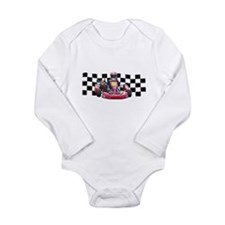 Kart Racer with Checkered Flag Body Suit