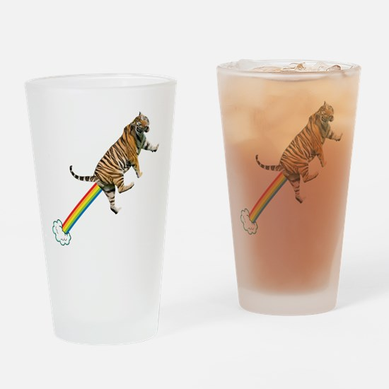 Flying Tiger Farts Rainbows Drinking Glass