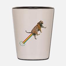 Flying Tiger Farts Rainbows Shot Glass