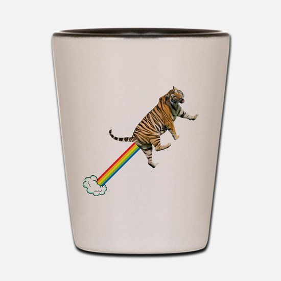 Flying Tiger Farts Rainbows Shot Glass