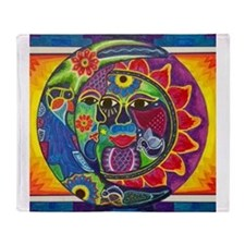 Mexican Sun and Moon Throw Blanket