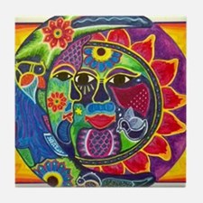 Mexican Sun and Moon Tile Coaster