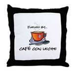 Fueled by Cafe con Leche Throw Pillow