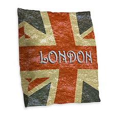 London Vintage British Flag Burlap Throw Pillow