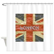 London Vintage British Flag Shower Curtain
