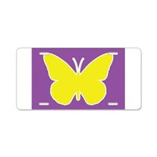 Butterfly Purple and Yellow Aluminum License Plate