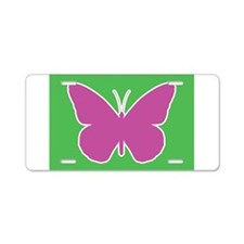 Butterfly Purple and Green Aluminum License Plate