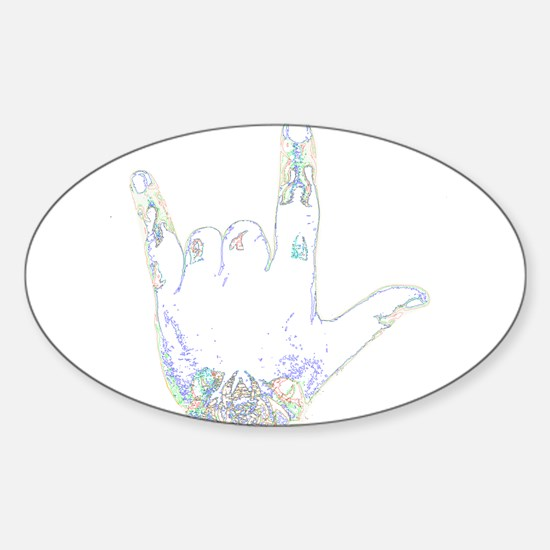 horns up 3 Oval Decal