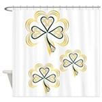 Three Bright Shamrocks Shower Curtain