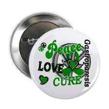 "Gastroparesis Peace Love Cure 2 2.25"" Button"