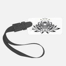 Black & White Lotus Design Luggage Tag