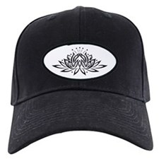 Black & White Lotus Design Baseball Hat