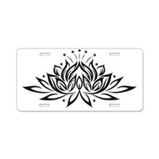 Black & White Lotus Design Aluminum License Plate