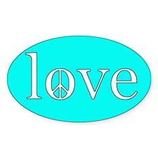 peace love blue Oval Decal