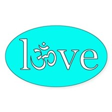 om love blue Oval Stickers