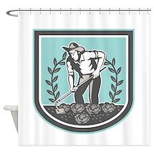 Organic Farmer Grabhoe Plant Shield Shower Curtain