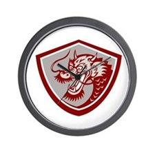 Chinese Red Dragon Head Shield Wall Clock