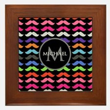 Girly Colorful Mustache Pattern Monogram Framed Ti