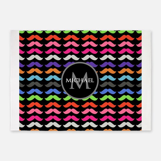 Girly Colorful Mustache Pattern Monogram 5'x7'Area