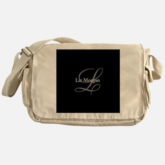 Elegant Black Monogram Messenger Bag