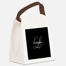 Elegant Black Monogram Canvas Lunch Bag