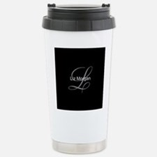 Elegant Black Monogram Travel Mug