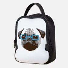Cute Hipster Pug with Blue Glasses Neoprene Lunch