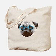 Cute Hipster Pug with Blue Glasses Tote Bag