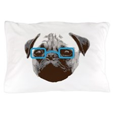 Cute Hipster Pug with Blue Glasses Pillow Case