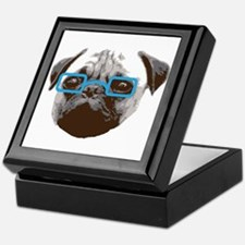 Cute Hipster Pug with Blue Glasses Keepsake Box