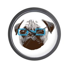 Cute Hipster Pug with Blue Glasses Wall Clock
