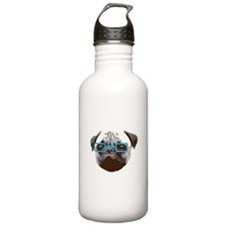 Cute Hipster Pug with Blue Glasses Sports Water Bo