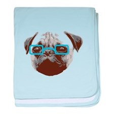 Cute Hipster Pug with Blue Glasses baby blanket