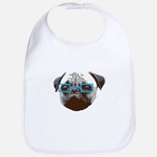 Cute Hipster Pug with Blue Glasses Bib