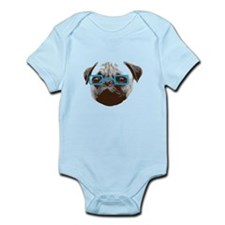 Cute Hipster Pug with Blue Glasses Body Suit
