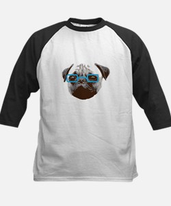 Cute Hipster Pug with Blue Glasses Baseball Jersey