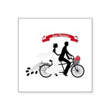 Just married bride and groom on tandem bicycle Sti