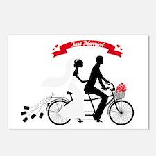 Just married bride and groom on tandem bicycle Pos