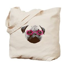 Cute Hipster Pug with Pink Glasses Tote Bag