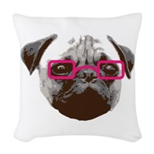 Cute Hipster Pug with Pink Glasses Woven Throw Pil
