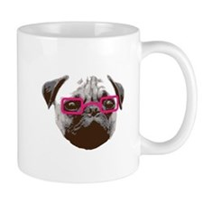 Cute Hipster Pug with Pink Glasses Mugs