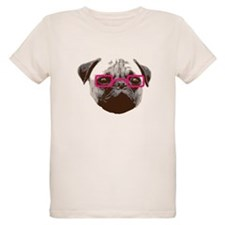 Cute Hipster Pug with Pink Glasses T-Shirt