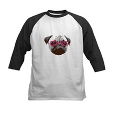 Cute Hipster Pug with Pink Glasses Baseball Jersey