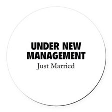Under New Management. Just Married. Round Car Magn