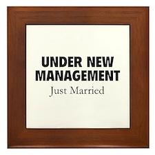 Under New Management. Just Married. Framed Tile