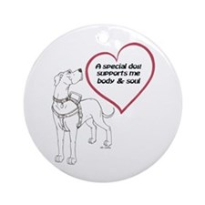 Heart Dog Support Ornament (Round)